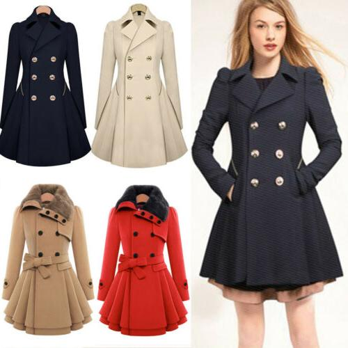 Womens Winter Warm Fur Collared Long Trench Outwear Peacoat