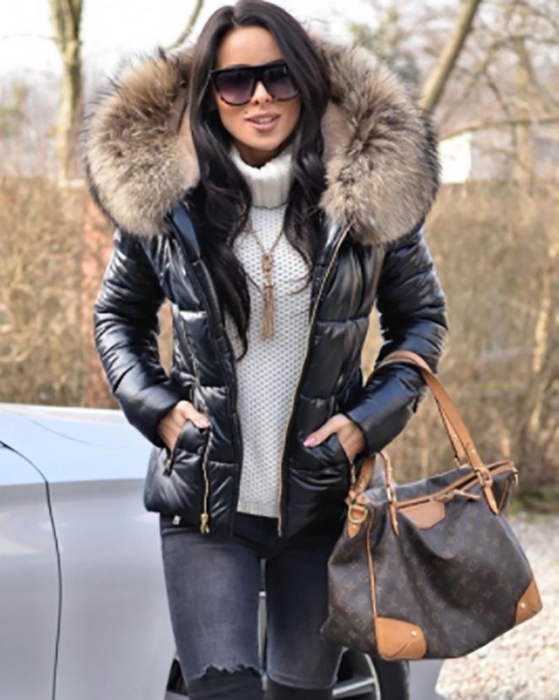 Women's Quilted Winter Coat Collar Hooded Down