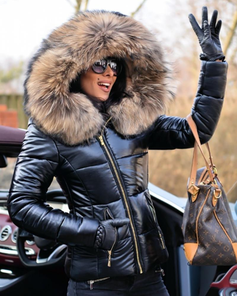 Women's Ladies Quilted Coat Fur Hooded Down Parka
