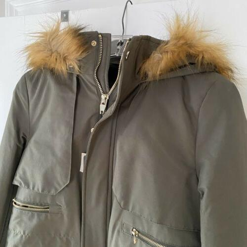 Zara Outerwear Green Hooded Coat