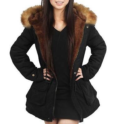 4HOW Womens Parka Jacket Hooded Long Winter Coat Faux Fur Ou