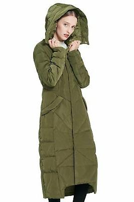 Orolay Women's Puffer Coat Maxi with Hood Large