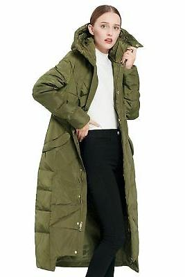 Orolay Women's Coat Winter Maxi with Green