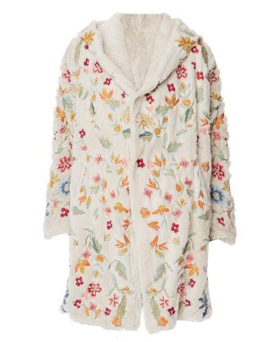 Johnny Women's Sona Faux Fur Coat with Floral Embroidery