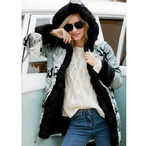 Women's Winter Coats Hooded Faux Overcoat Jacket