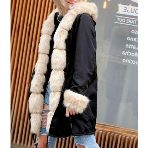 Women's Thick Hooded Faux Overcoat Jacket Outerwear