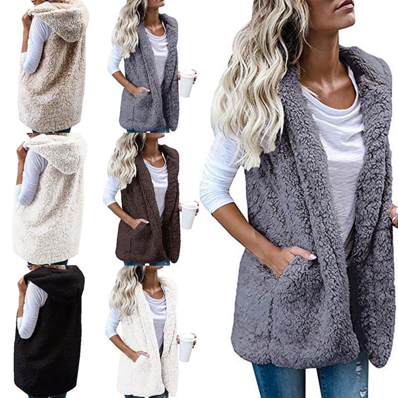 Womens Vest Fleece Fur Waistcoat Gilet Winter Warm Hooded Fl