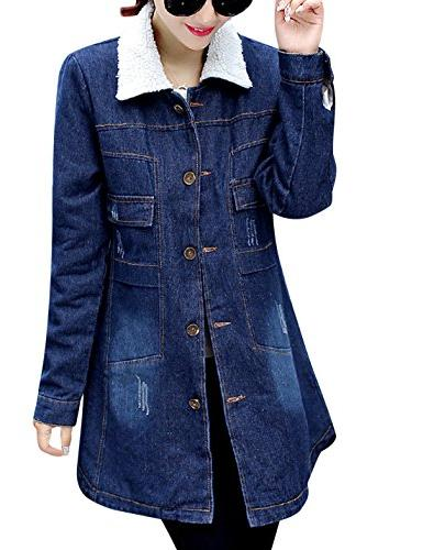 Tanming Women's Warm Sherpa Lined Denim Jean Jacket Outerwear
