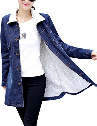 women s warm sherpa lined long denim