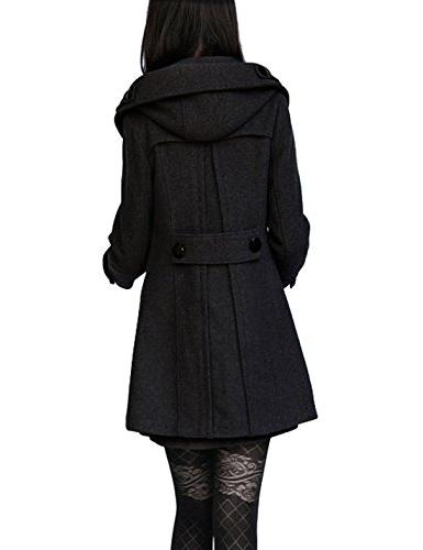Tanming Women's Double Breasted Long Pea Coat with