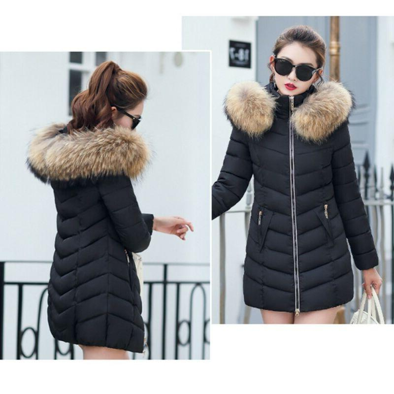 Women's Winter Cotton Parka Quilted Jacket Fur Hot