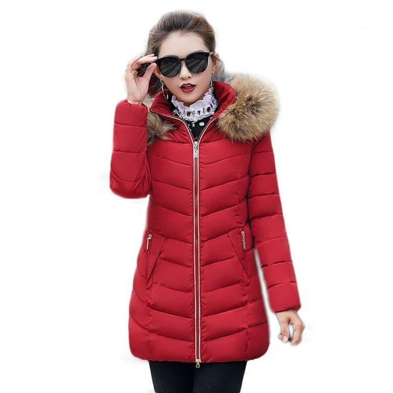 Women's Winter Down Cotton Parka Hooded Coat Jacket With Hot