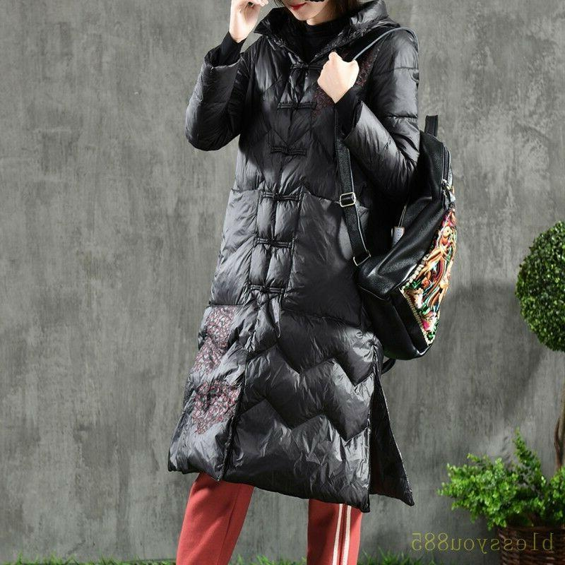 Women's Embroidered Down Coat Jacket Parkas Outwear Coats