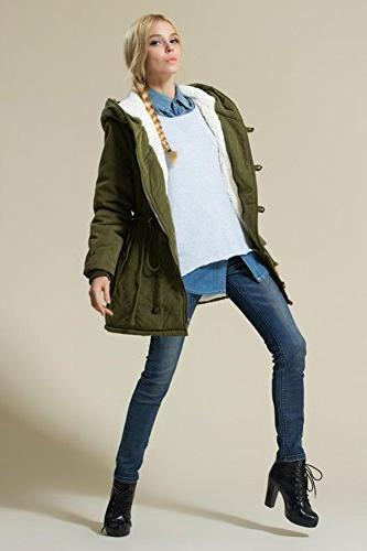 Eleter Women's Coat Hoodie Parkas Fleece Drawstring