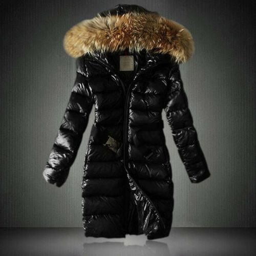 Women Quilted Coat Parka Faux Fur Hooded Warm Winter