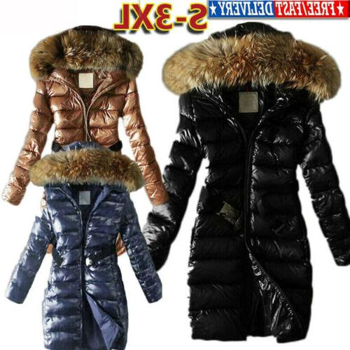 Women Shiny Quilted Coat Faux Hooded Warm Winter