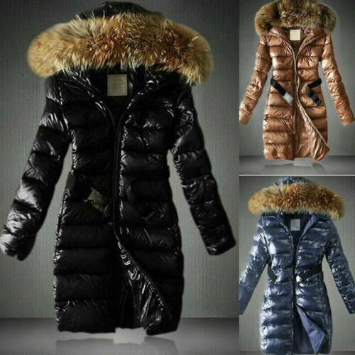 women shiny quilted down coat parka faux