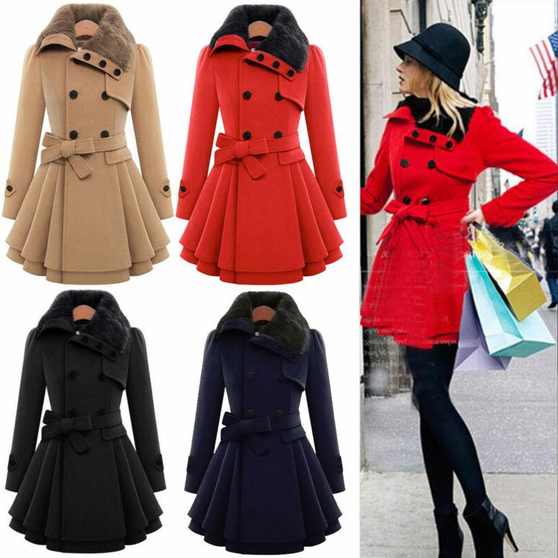 Women Warm Suit Breasted Wool Trench Jacket US