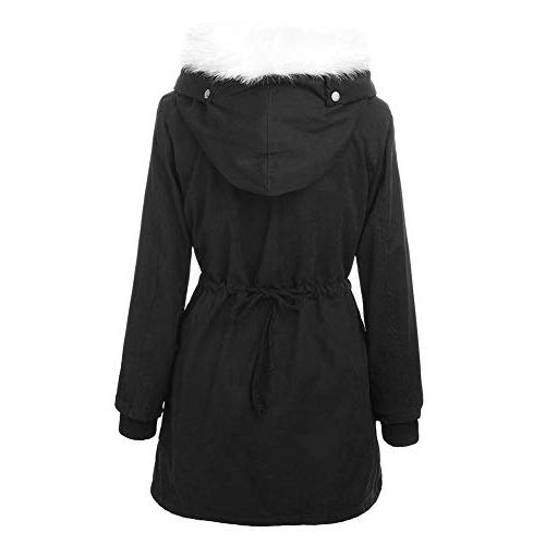 Roiii Women Thicken Winter Overcoat Outwear,Black,X-Large