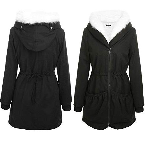 Roiii Women Winter Hood Overcoat Long