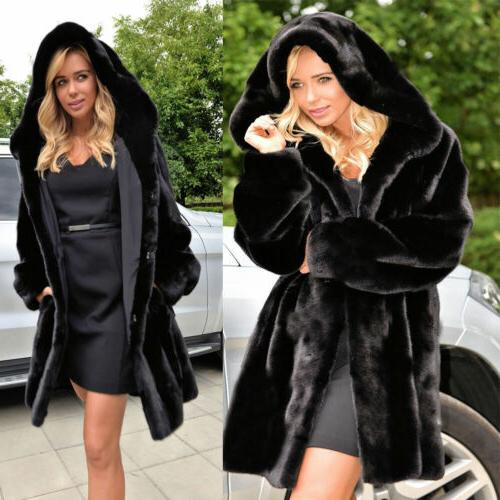 Plus Womens Fur Hoodie Parka Outwear