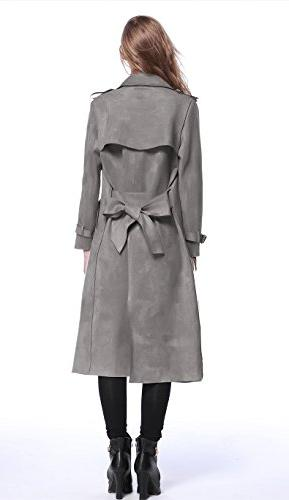 Enlishop Women Winter Suede Leather Grey Long Coat Belt