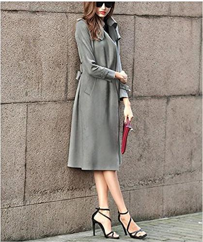 Enlishop Women Winter Suede Long Trench Belt