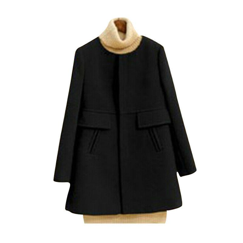 Women Fall Coat Peacoat Jacket Button