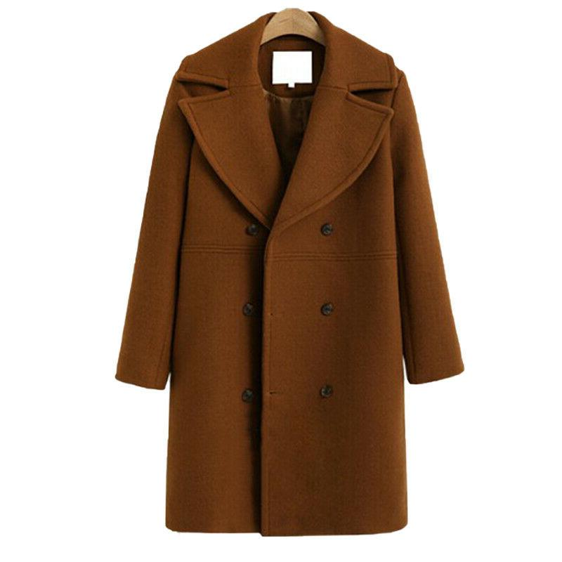 Women Winter Coat Peacoat Button Outwear Tops