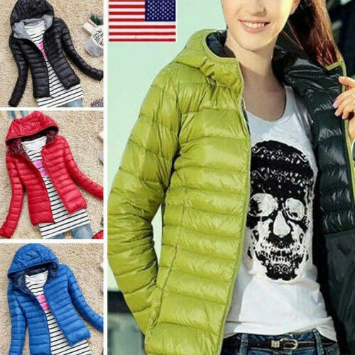 women winter quilted padded puffer bubble hooded