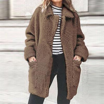 Women Winter Warm Faux Fur Jacket Cardigan Plus Sale
