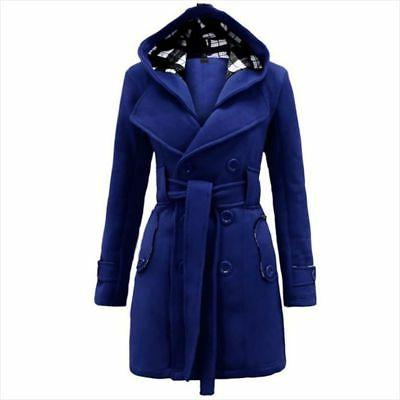 Women Ladies Hooded Trench Peacoat Trench Outwear