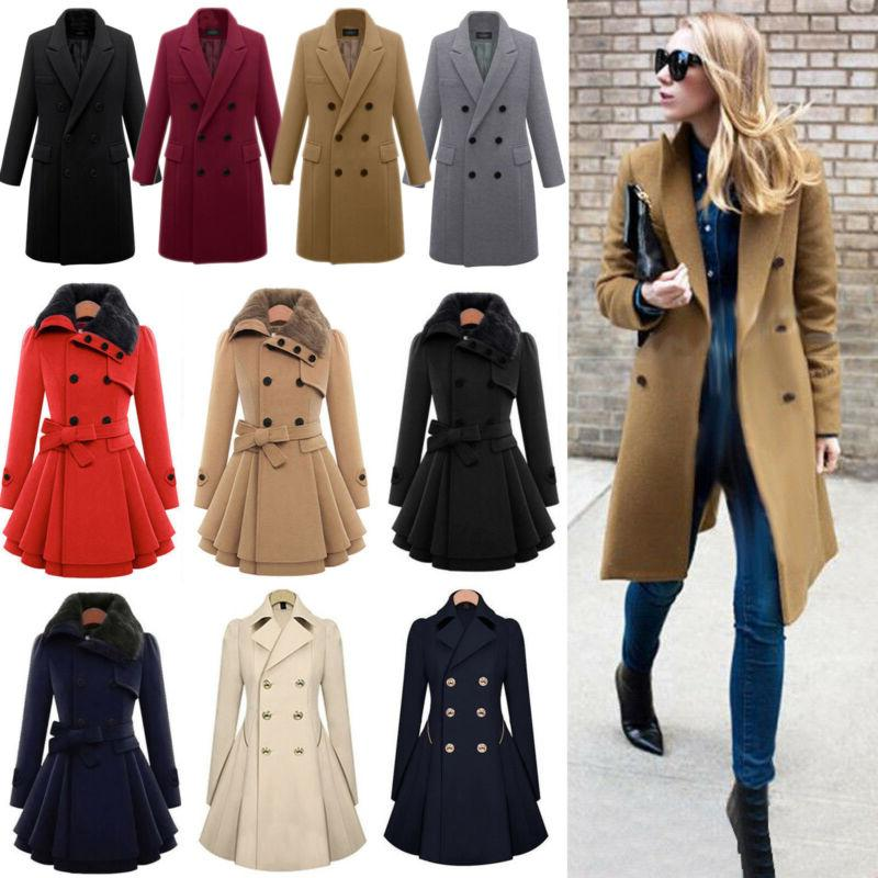 women winter warm slim suit double breasted