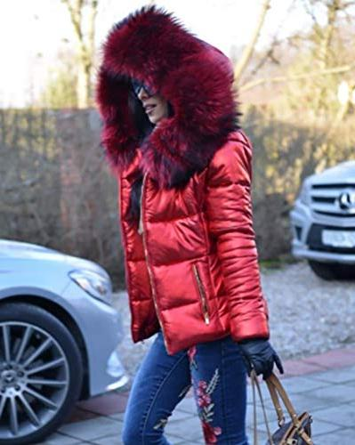 Roiii Winter Warm Thick Brown Shade Fur Coat Parka Long Jacket Plus Size S