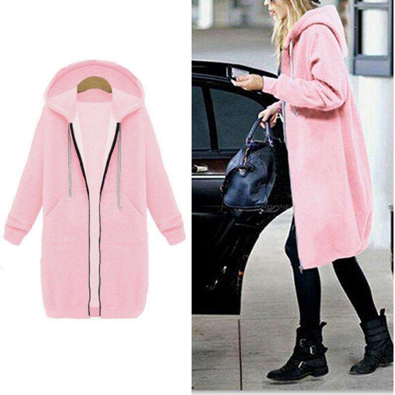 Women Winter Zipper Sweater Hooded Sweatshirt Coat