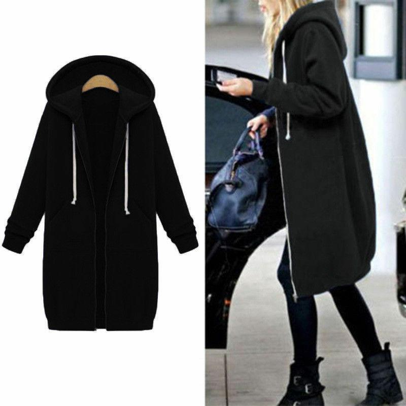 Women Winter Zipper Sweater Hooded Jacket Sweatshirt Plus