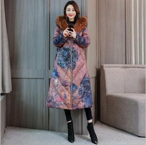 Womens Fashion Fur Collar Hooded Cotton Coat