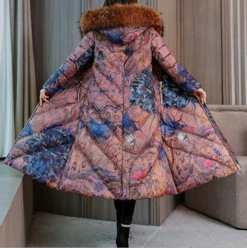 Womens Fur Collar Hooded Winter Warm Coat
