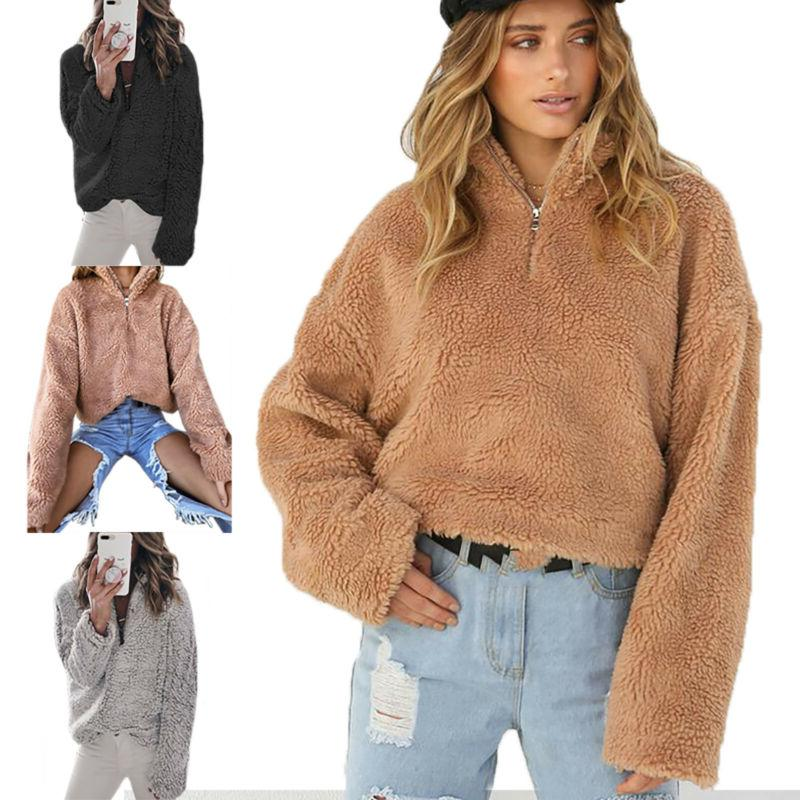 Women's Faux Teddy Bear Fleece Ladies Jacket Sweater Hooded