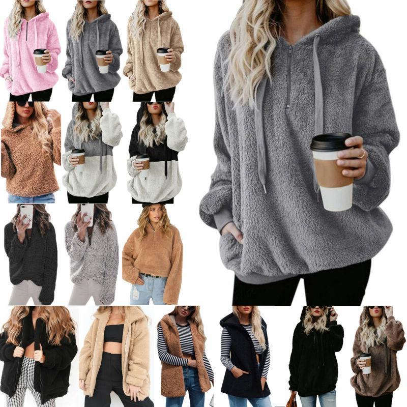 womens faux fur teddy bear fleece coat