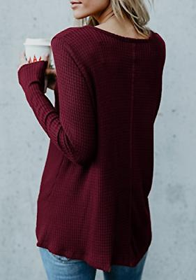 Womens Henley V Sleeve Casual Sweaters