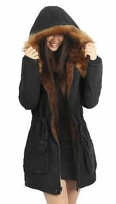 iLoveSIA Womens Hooded Coat Faux Fur Lined Jacket Black 12