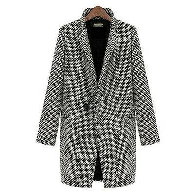 Womens Lapel Wool Cashmere Coat Trench Jacket Parka Winter
