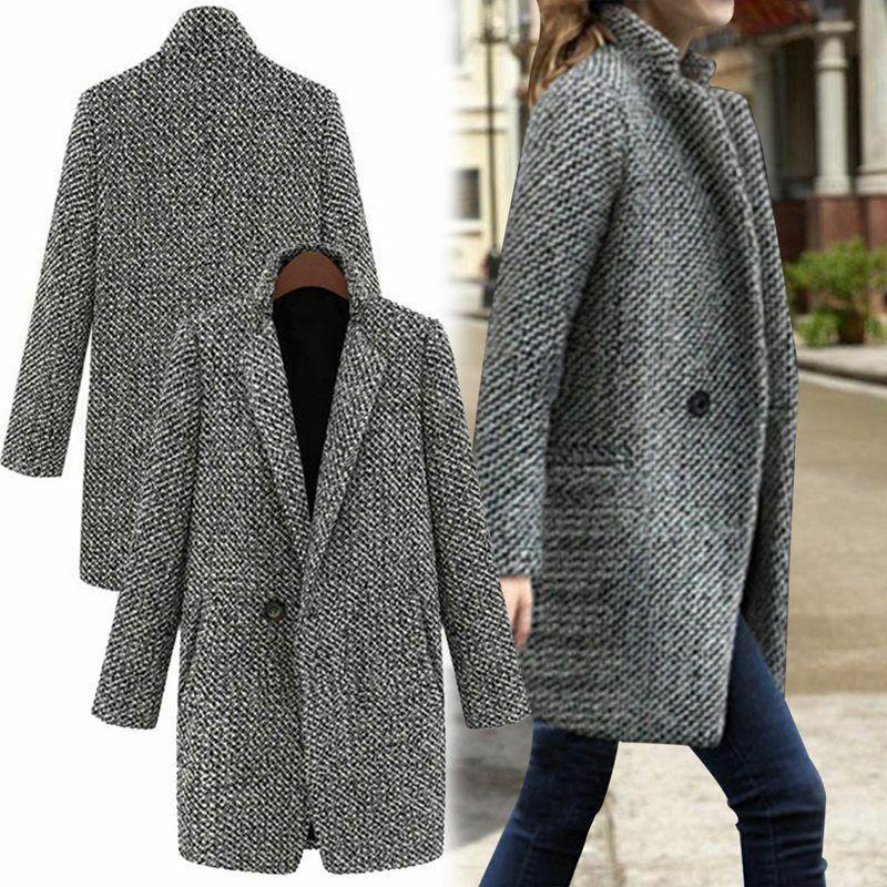 womens lapel wool cashmere coat trench jacket