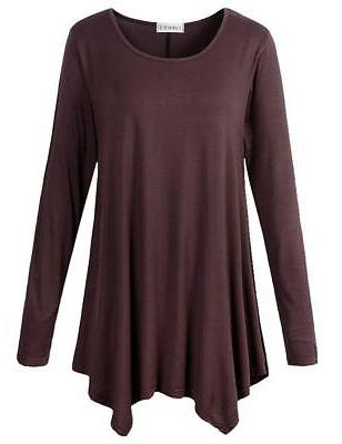 womens long sleeve flattering comfy tunic loose