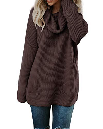 womens oversized sweaters high neck casual long
