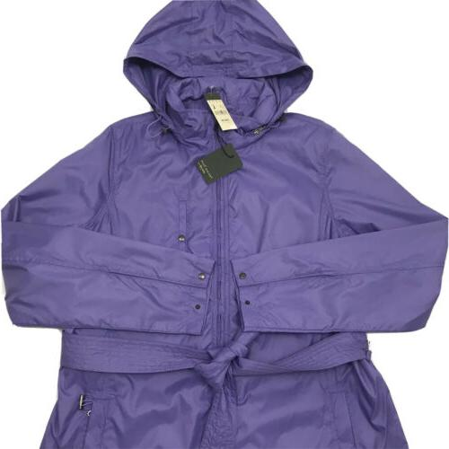 Away Trench Coat Jacket Hooded Purple Large