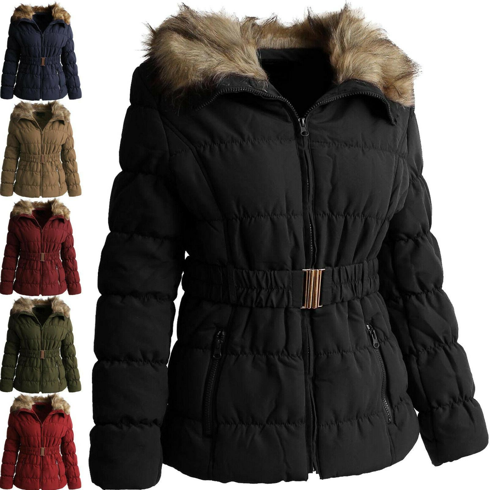 womens padding jacket fur lined coat quilted