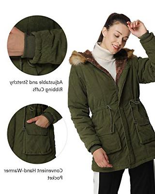 4HOW Womens Parka Winter Army