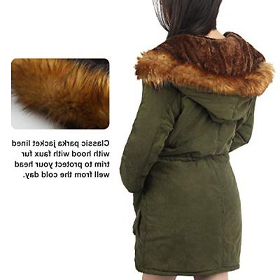 4HOW Womens Winter Long Warm Parkas Outdoor Army